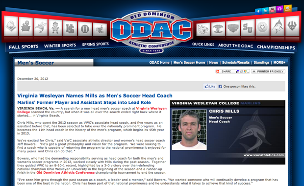 Mills Named Head Coach for VWC Men