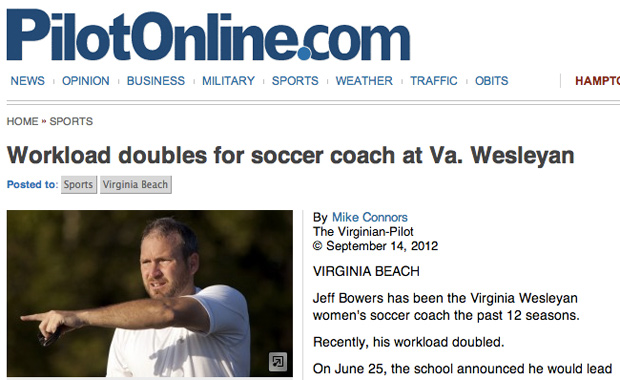 Coach Bowers Profiled in Virginia Pilot